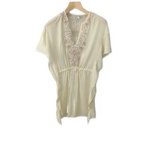 Free People Embroidered Flutter Sleeve Tunic Top